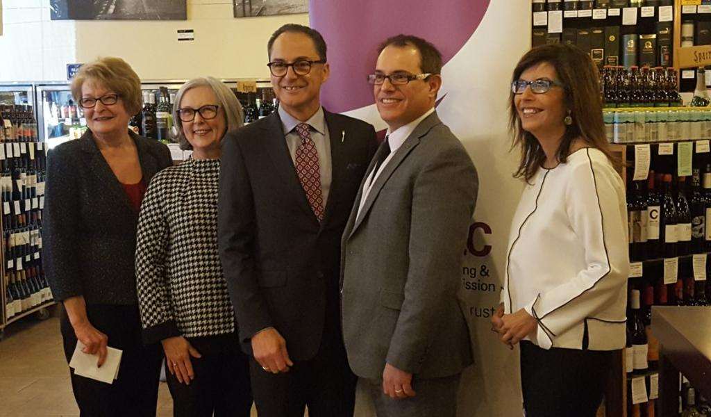 Shirley McClellan (CEO, Horse-Racing Alberta), Gael MacLeod (Board Chair of AGLC), Joe Ceci (Minister of Finance), Alain Maisonneuve (new President & CEO of AGLC) and Ivonne Martinez (President of Alberta Liquor Store Association)